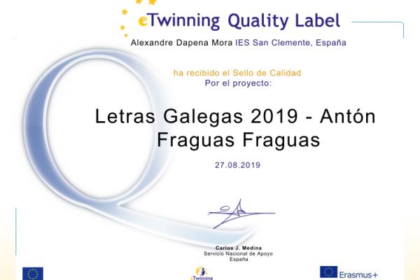 Selos de calidade eTwinning 2019