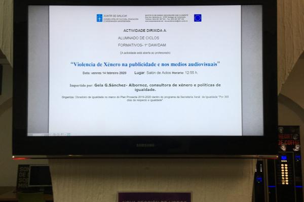 """Charla """"Violencia de Xénero na publicidade e nos medios audiovisuais"""""""