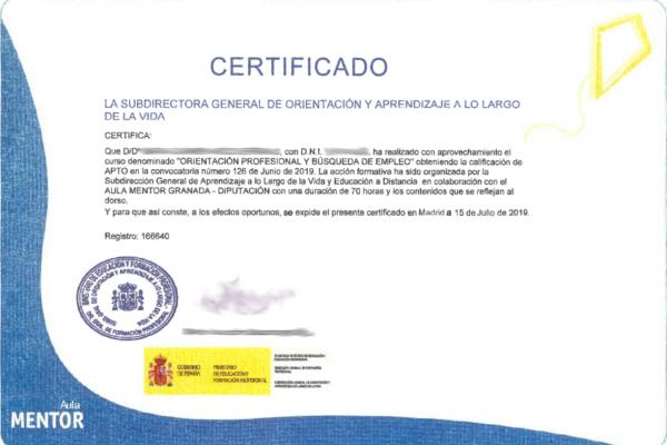 Certificados de los cursos realizados